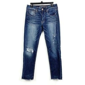 American Eagle Tomgirl Button Fly Distressed Jeans
